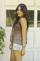 Forever 21 top - denim slashers Mink Pink shorts - threadsence accessories