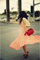 orange French Connection dress - red vintage Chanel bag - cream gold flecked Urb