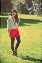 beige sheer knit Forever 21 sweater - carrot orange Express shorts - navy HUE st