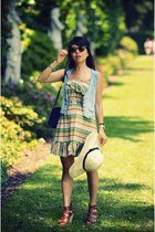 Target dress - H&M hat - Vintage Christian Dior bag - Kmart vest - Dolce Vita fo
