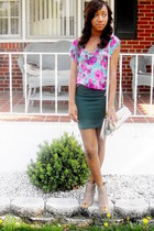 Forever 21 shirt - coach purse - Forever21 skirt - Jeffrey Campbell wedges