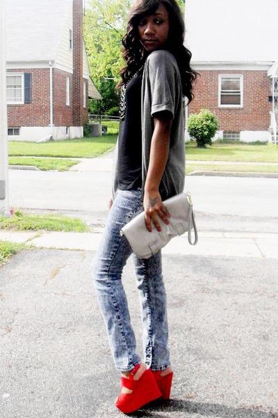 H&M jeans - Forever 21 shirt - Coach clutch purse - go jane wedges