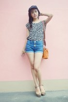 leopard DYI blouse - High Waisted Crissa shorts - So FAB wedges