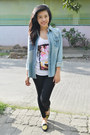 Sky-blue-herbench-jacket-black-daiso-leggings-white-boyfriend-top