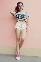 silver Penny Tees t-shirt - white Candies shorts - pink Sports Girl sneakers