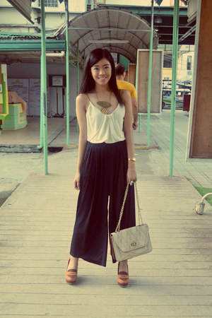 cream banana republic top - black Local store pants - burnt orange kisses wedges