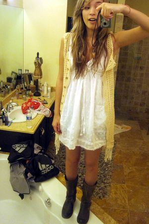 white Forever 21 dress - brown Khols boots - beige Marshalls vest