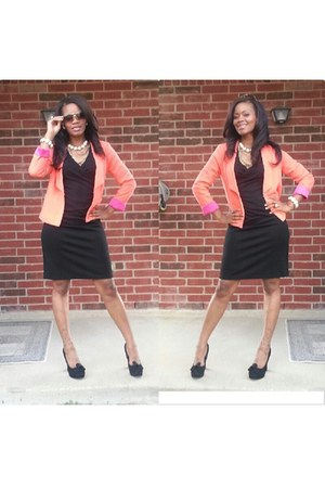 black Thrift Store dress - salmon windsor blazer - tan accessories