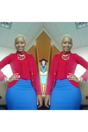red red blazer BCBG blazer - blue Forever21 skirt