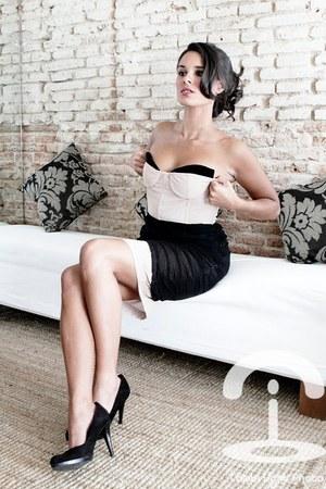 black heels - white dress