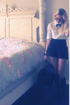 black oxfords Jeffrey Campbell shoes - black bag - black lace shorts