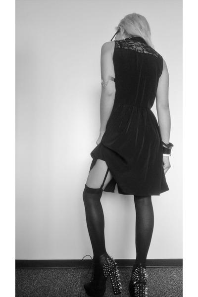 silver chain H&M bracelet - black litas vintage boots - black unknown dress