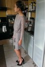 Gray-bcbg-dress-black-chain-tassles-diy-belt-black-suede-dolce-vita-heels