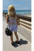 white cutout top - light purple American Apparel shorts