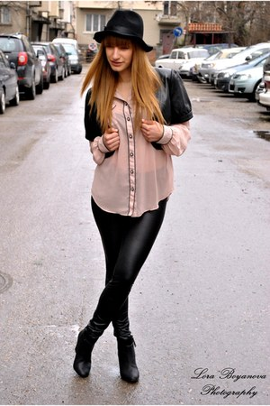 Zara shirt - Bershka boots - H&M hat - reserved leggings