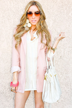 white shophandrcom dress - light pink H&M blazer - beige shophandrcom bag - beig