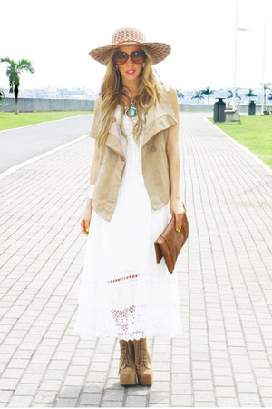 white Panama dress - tan Jeffrey Campbell boots - brown HAUTE &amp; REBELLIOUS purse
