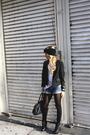 Blue-shorts-white-shirt-black-blazer-black-tights-black-boots-black