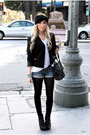 Blue-shorts-white-shirt-black-blazer-black-tights-black-boots-black