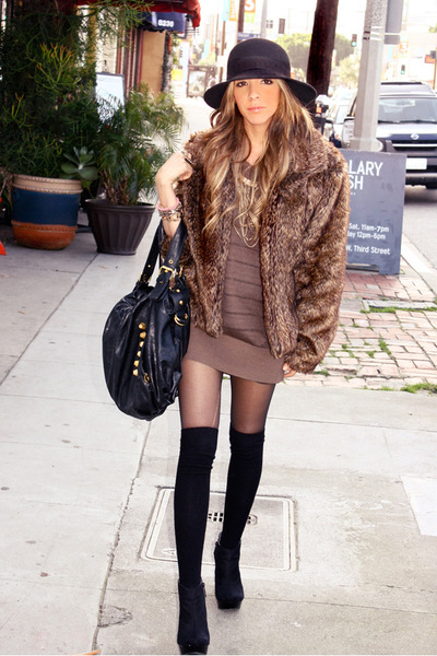brown Soho coat - black H&M hat - brown HAUTE&REBELLIOUS sweater - black H&M tig