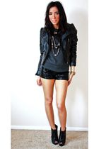 black MelroseDowntown LA shorts - gray f21 sweater - black H&M jacket - black f2