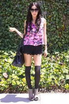 black Sample Sale shorts - purple Cotton Candy blouse - black Target socks - whi