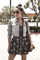 blue Cotton Candy dress - blue vintage jacket - brown f21 belt - brown Quipid sh