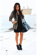 gray Forever21 blazer - black Forever 21 shoes - black Black dress dress