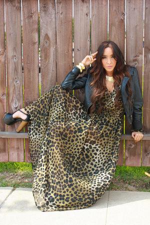 black H&M jacket - black Jessica Simpson shoes - beige H&M dress