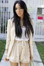 beige H&M blazer - beige Forever 21 shoes - beige Target tights