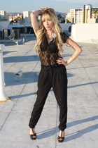 black Soho pants - vintage from Redding blouse - vitoria secret bra - black Mich