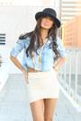 Sky-blue-wwwshophandrcom-shirt-gold-wwwshophandrcom-bracelet-cream-mini-skir