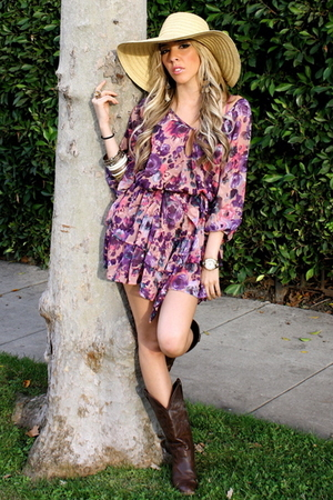 purple H&M dress - brown Target boots - beige Street Vendor hat