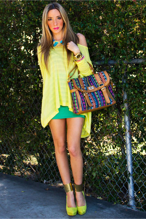 camel HAUTE &amp; REBELLIOUS bag - yellow neon HAUTE &amp; REBELLIOUS blouse