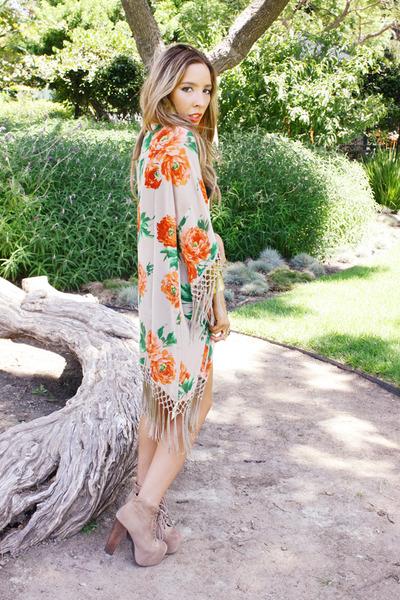 tan floral print HAUTE & REBELLIOUS cardigan