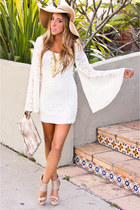 white HAUTE & REBELLIOUS dress - bronze flopy hat Aldo hat