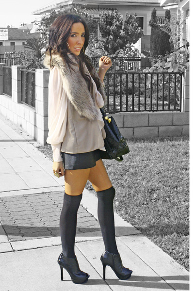 light pink H&M blouse - tan Forever 21 vest - black shorts - black Target tights
