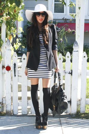 black Zara blazer - black Jessica Simpson shoes - white H&M dress