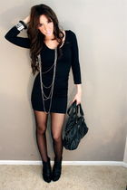 TIGHT LITTLE LONG SLEEVE BLACK DRESS