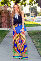 blue tribal print HAUTE & REBELLIOUS pants - brown HAUTE & REBELLIOUS hat