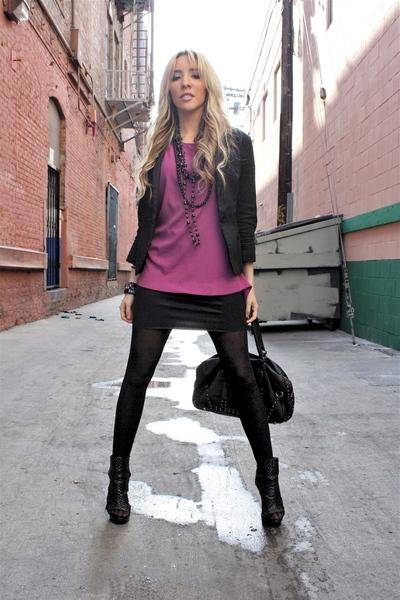 pink Forever 21 blouse - black american appparel skirt - black vintage blazer -