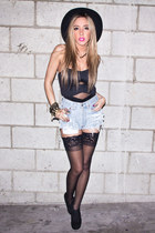 H&M hat - fredricks of hollywood tights - vintage levis shorts