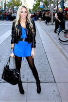 blue a 31 dress - black H&M jacket - black f21 accessories - black downtown la s