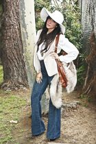white ellison blouse - white American Apparel hat - brown H&M purse - gold Forev