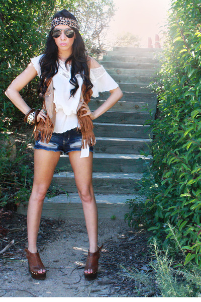 white chiffon Forever 21 blouse - brown clogs Steve Madden shoes