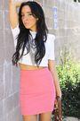 Pink-h-m-skirt-white-piko-shirt-brown-breckells-shoes-brown-h-m-purse