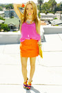 Yellow-envelope-clutch-haute-rebellious-bag-hot-pink-gift-blouse
