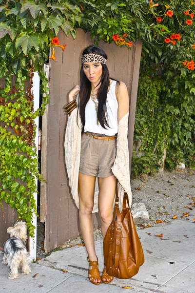 brown H&M purse - brown Cupid shoes - beige Lush sweater
