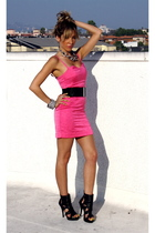 pink H&M dress - black downtown la boots - black Forever 21 belt