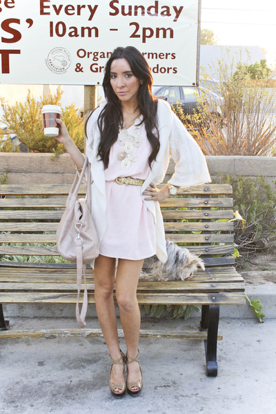 pink Honey Punch dress - pink H&M purse - white sweater - gold Forever 21 access